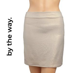 By The Way. Gold Metallic Mini Skirt Size Small